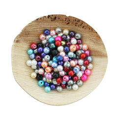 Round Glass Beads 6mm - Assorted Pearl Rainbow - 250 Beads - BD2433