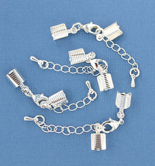 Silver Tone Extender Chain With Lobster Clasp, Chain Drop and 2 Cord Ends - 70mm x 3.3mm - 6 Pieces - FD342