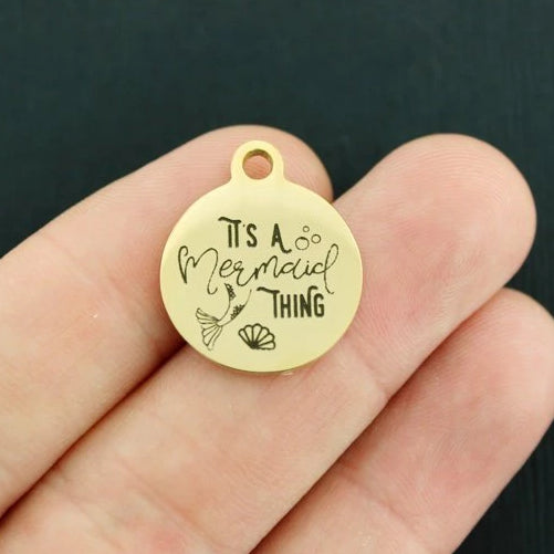 Mermaid Gold Stainless Steel Charm - It's a Mermaid Thing - Exclusive Line - Quantity Options - BFS3961GOLD