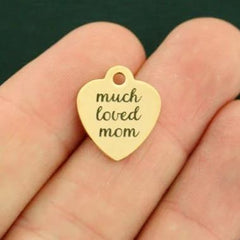Family Gold  Stainless Steel Charm - Much Loved Mom - Smaller Size - Exclusive Line - Quantity Options - BFS1833GOLD