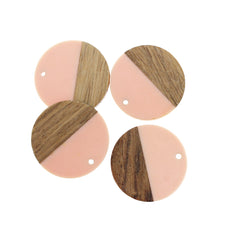 2 Round Natural Wood and Resin Charms - Z1026