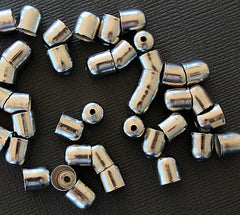 Silver Tone Cord Ends - 8mm x 7mm - 25 Pieces - FD012