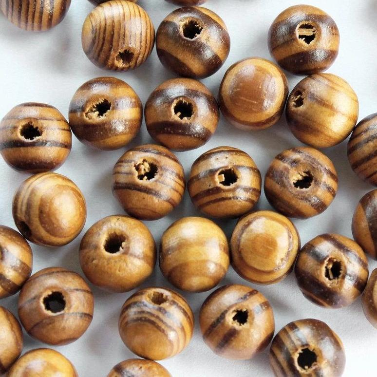 Round Wooden Beads 10mm - Natural Light Brown - 25 Beads - BD508