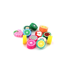 Fruit Spacer Polymer Clay Beads Assorted Sizes - Assorted Fruits - 25 Beads - E715