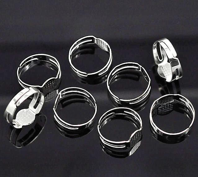 Silver Tone Adjustable Ring Bases - 15.5mm with 6mm glue pad - 25 Pieces - FD144