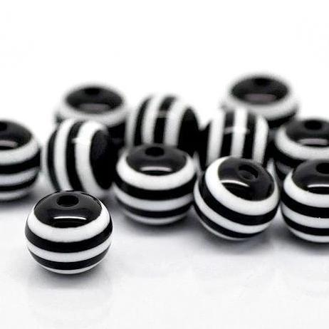 Round Resin Beads 8mm - Black and White Stripe - 25 Beads - BD021