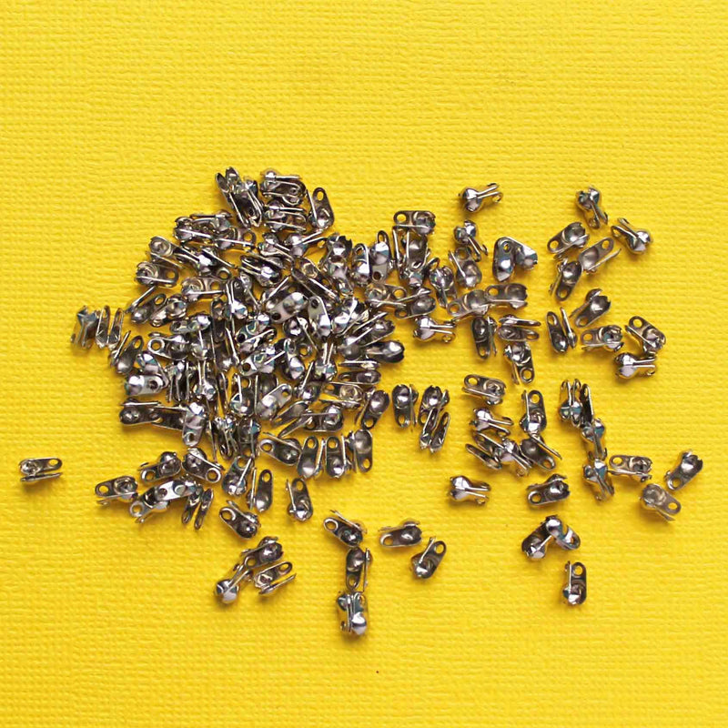 Antique Silver Tone Bead Tips - 6mm x 6mm Clamshell - 250 Pieces - FD473