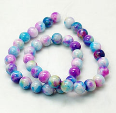 Round Jade Gemstone Beads 8mm - Mottled Blue, Pink, Purple and White - 20 Beads - BD258