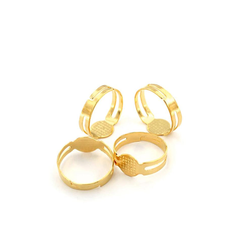Gold Tone Adjustable Ring Bases - 17mm with 8mm glue pad - 5 Pieces - Z858