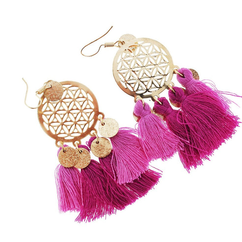 2 Dreamcatcher Tassel Earrings - French Hook Style - 1 Pair - Z1076