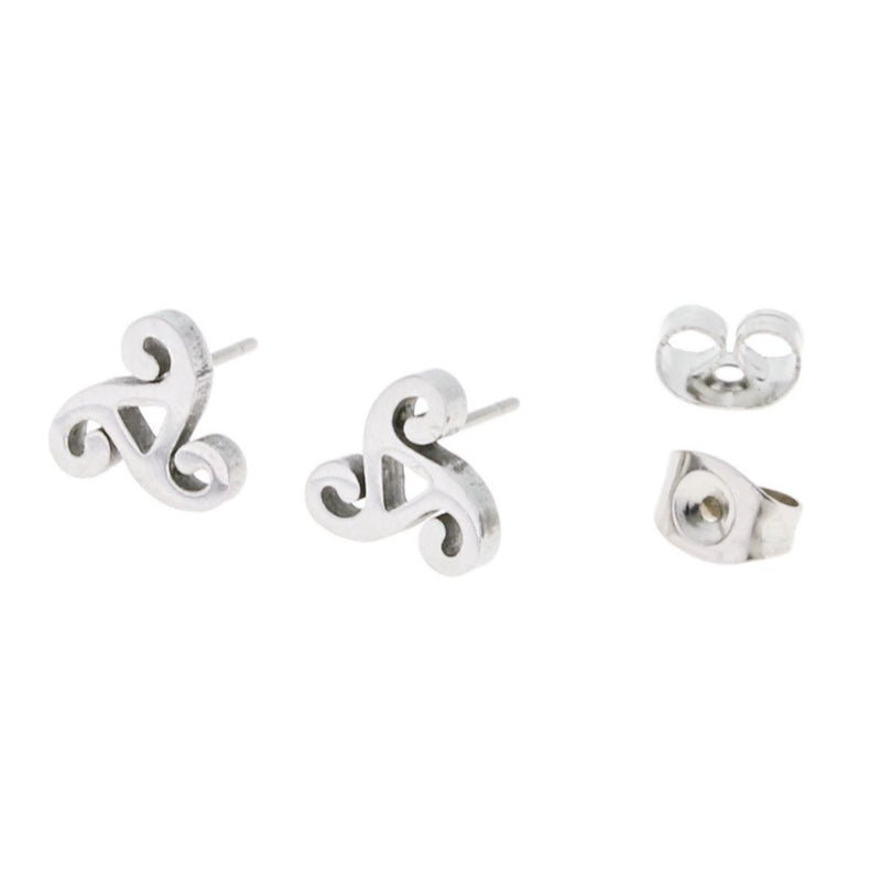 Stainless Steel Earrings - Triskele Triple Spiral Studs - 8.5mm x 8mm - 2 Pieces 1 Pair - ER002