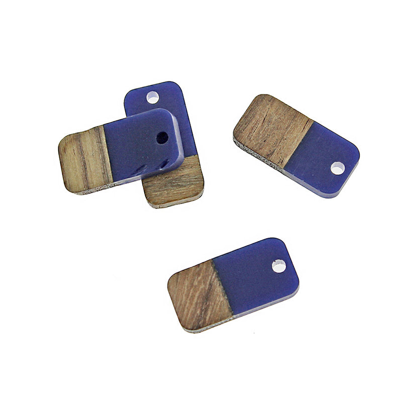 4 Rectangle Natural Wood and Blue Resin Charms 20mm - WP028
