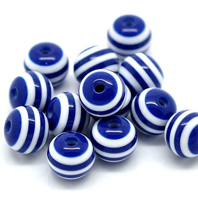 Round Resin Beads 8mm - Navy Blue and White - 50 Beads - BD336