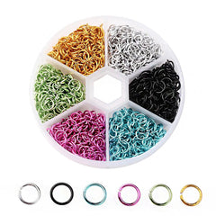6mm Aluminum Jump Rings with Six Assorted Finishes in Handy Storage Box 1080 Pieces - JBOX18