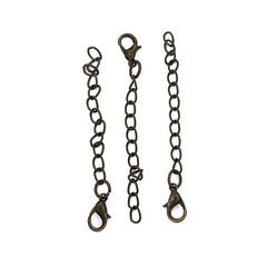 Antique Bronze Tone Extender Chains With Lobster Clasp - 65mm x 3.5mm - 10 Pieces - Z883