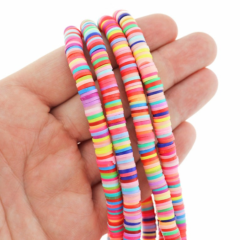 Heishi Polymer Clay Beads 6mm x 1mm - Bright Rainbow Colors - 1 Strand 380 Beads - BD1324