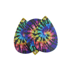 Imitation Leather Teardrop Pendants - Black Tie-dye - 4 Pieces - LP129