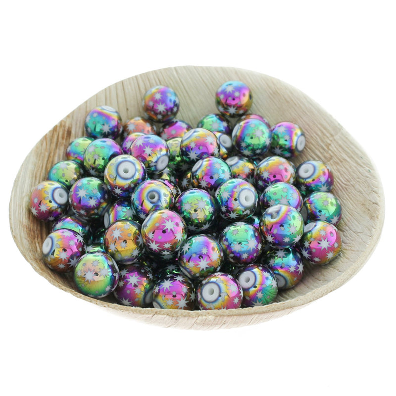 Round Glass Beads 10mm - Electroplated Rainbow Star Pattern - 20 Beads - BD107