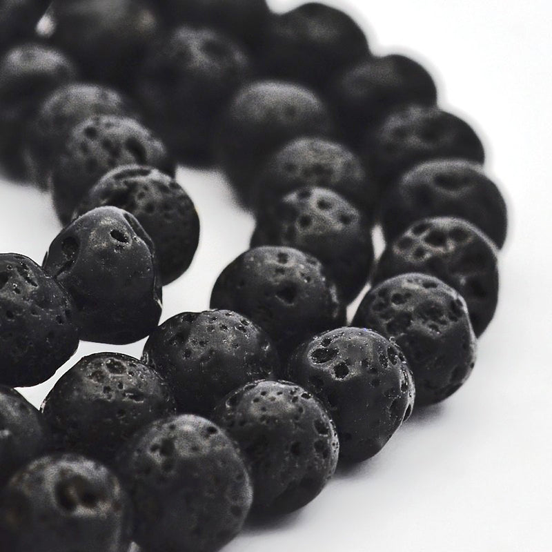 Round Natural Lava Beads 6mm - Black - 1 Strand 63 Beads - BD916