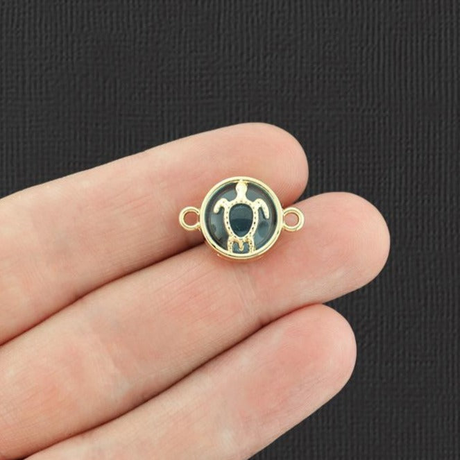 4 Turtle Connector Gold Tone Enamel Charms - E966
