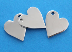 Heart Stamping Blanks - Stainless Steel - 20mm x 23mm - 3 Tags - MT131