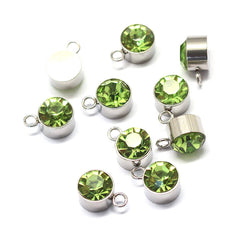 4 August Birthstone Silver Tone Stainless Steel Charms - MT472