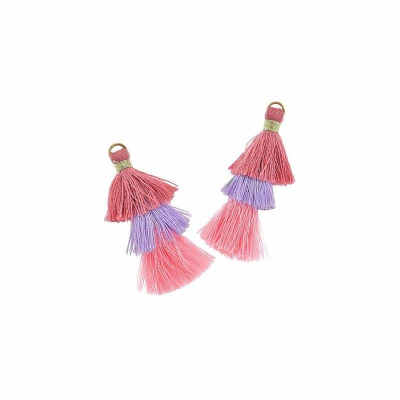 Polycotton Tassel 40mm - Pink and Purple - 4 Pieces - Z1211