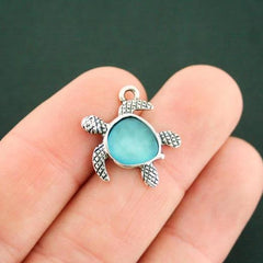 Turtle Antique Silver Tone Charms with Inset Turquoise Sea Glass - SC7547