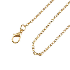Gold Tone Cable Chain Necklaces 18