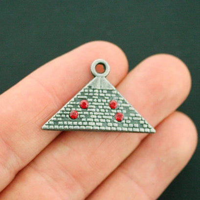 4 Pyramid Antique Gunmetal Tone Charms 2 Sided With Inset Rhinestones - BC1592