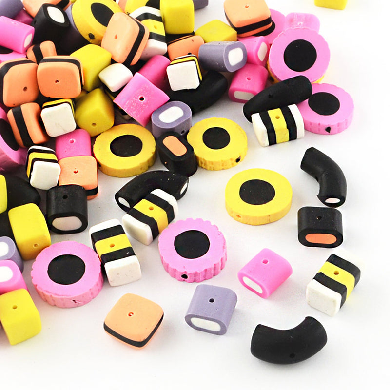 Candy Polymer Clay Beads - Assorted Sizes and Colors - 10 Beads - BD736