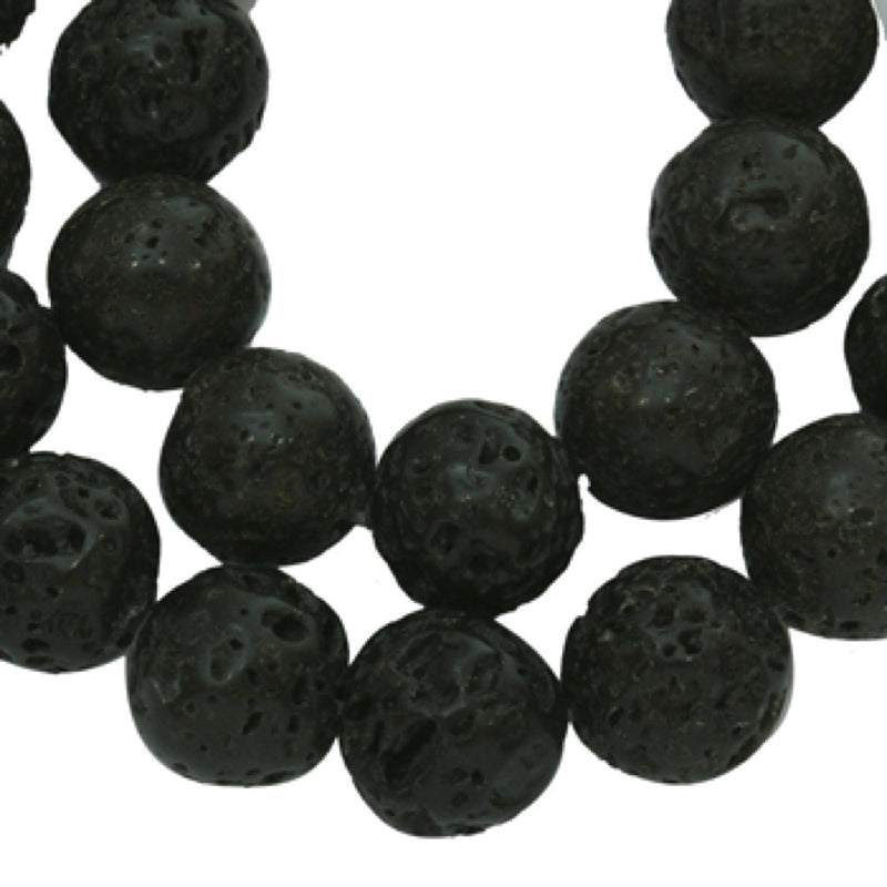 Round Natural Lava Beads 8mm - Black - 1 Strand 50 Beads - BD534