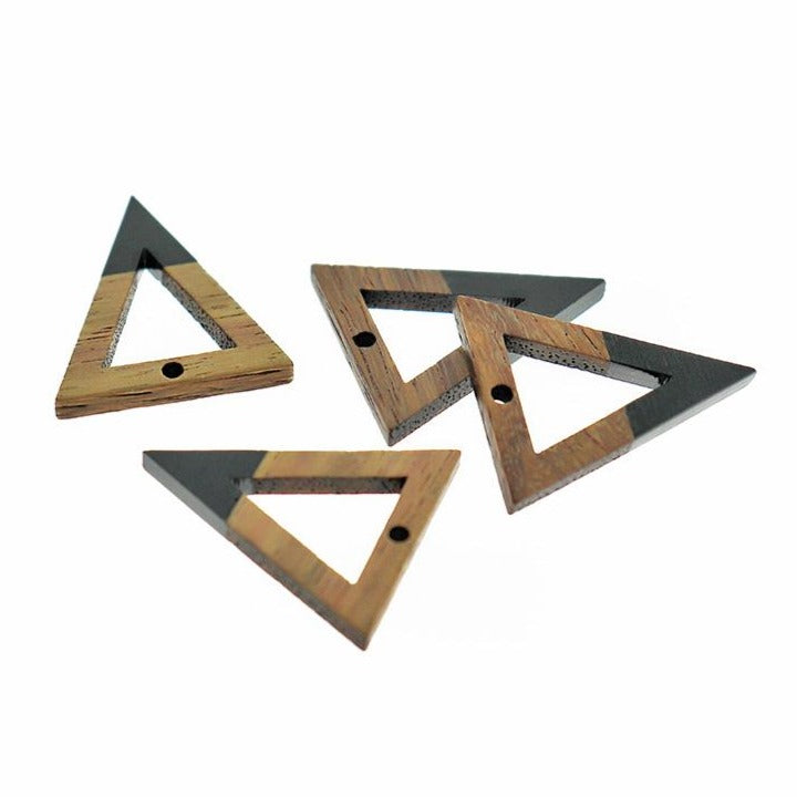 2 Open Triangle Natural Wood and Black Resin Charms 27mm - WP158