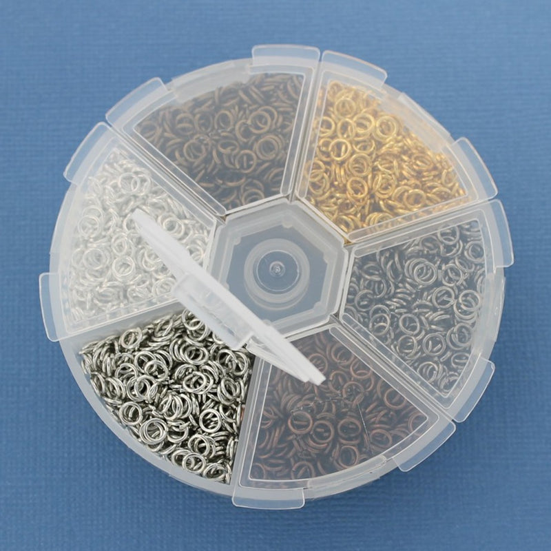 4mm Jump Rings with Six Assorted Finishes in Handy Storage Box - STARTER8