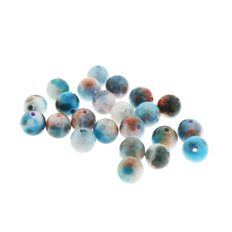 Round Jade Gemstone Beads 8mm - Blue and Brown Earth tone - 20 Beads - BD255