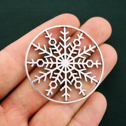 2 Snowflake Antique Silver Tone Charms 2 Sided - SC6178