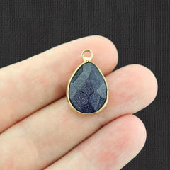 Natural Blue Goldstone Faceted Teardrop Gemstone Pendant 2 Sided - GEM044