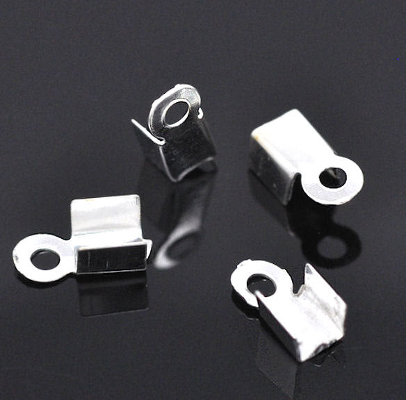 Silver Tone Cord Ends - 9mm x 4mm - 50 Pieces - FD041