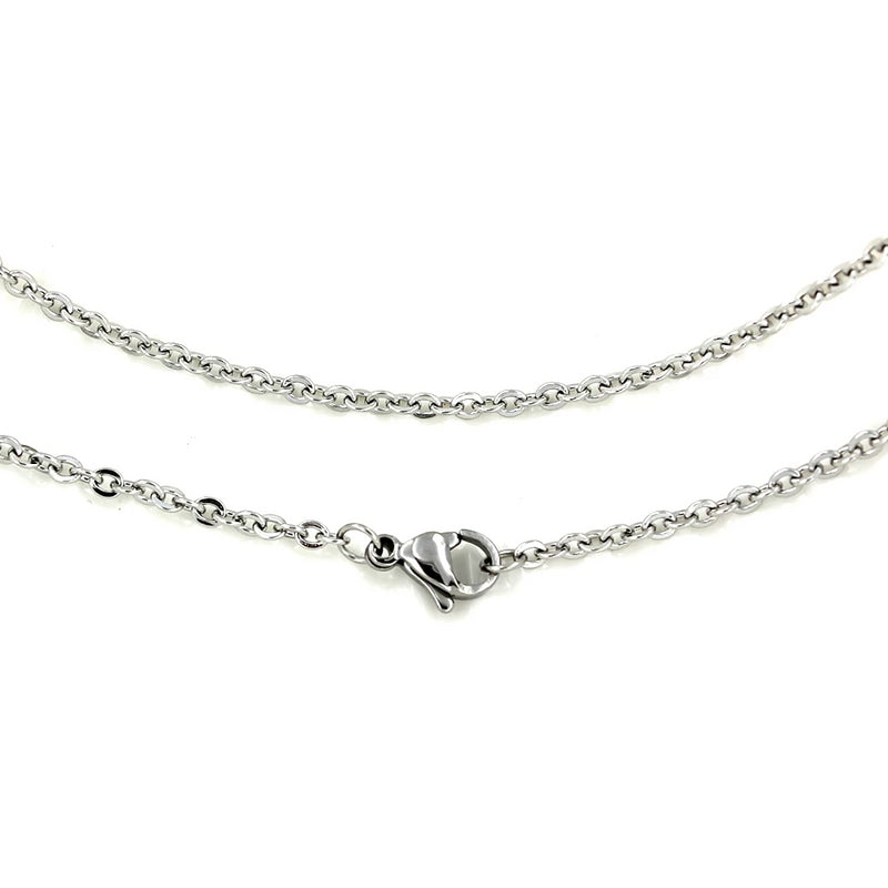 "Stainless Steel Cable Chain Necklace 20"" - 2mm - 5 Necklaces - N455"
