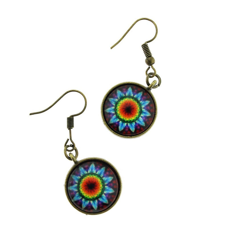 2 Mandala Earrings - French Hook Style - 1 Pair - Z1073