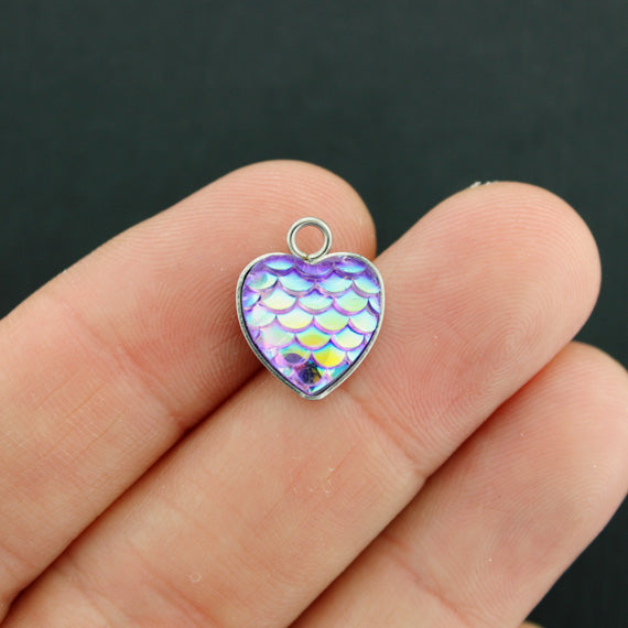 4 Heart Mermaid Scale Stainless Steel Cabochon Charms - FD652