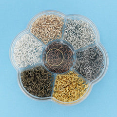 5mm Jump Rings with Seven Assorted Finishes And Jump Ring Opener in Handy Storage Box - JBOX24