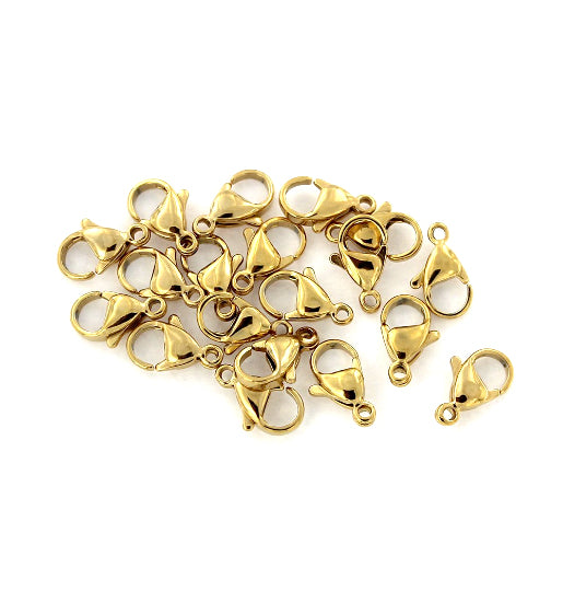 FF247 2 Lobster Clasps Stainless Steel 12mm x 11mm Round Fabulous Quality