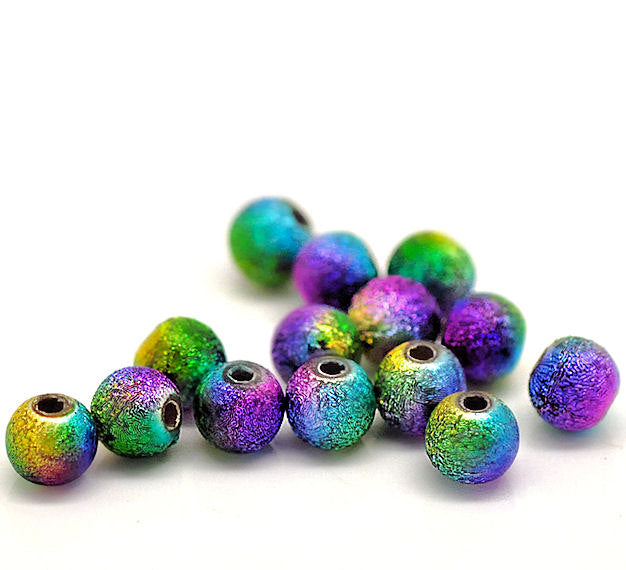 Round Acrylic Stardust Beads 8mm - Shades of Peacock Feathers - 50 Beads - BD219