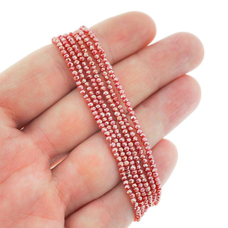 Faceted Glass Beads 2.5mm x 1.5mm - Electroplated Red - 1 Strand 197 Beads - BD1598