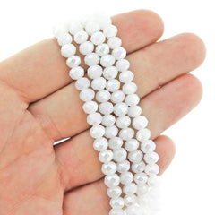Faceted Rondelle Glass Beads 6mm x 4mm - Bright White - 1 Strand 98 Beads - BD2535