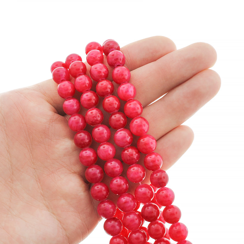 Round Natural Jade Beads 8mm - Hot Pink - 20 Beads - BD992