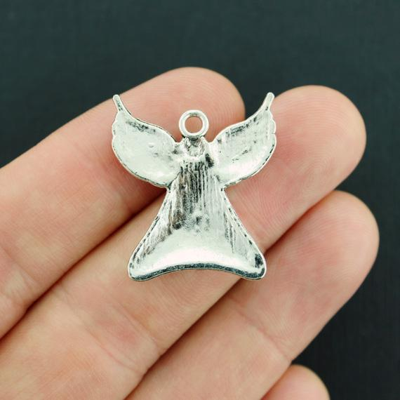 SC7679 4 Angel Charms Antique Silver Tone With Heart