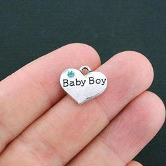 4 Baby Boy Antique Silver Tone Charms 2 Sided With Inset Rhinestones - SC4380