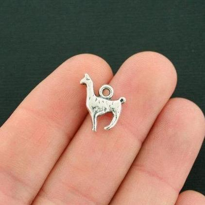 4 Llama Charms Antique Silver Tone Alpaca 3D Two Sided SC7588